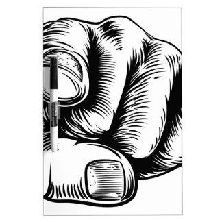El señalar de la mano le quiere dedo tableros blancos