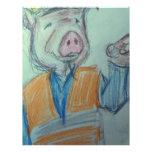 El señalar del cerdo de la construcción membrete personalizado