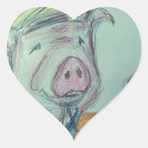 El señalar del cerdo de la construcción calcomania corazon