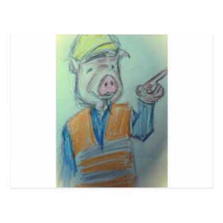 El señalar del cerdo de la construcción tarjeta postal