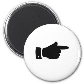 El señalar del dedo iman de frigorífico
