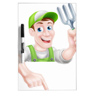 El señalar del jardinero del dibujo animado pizarra