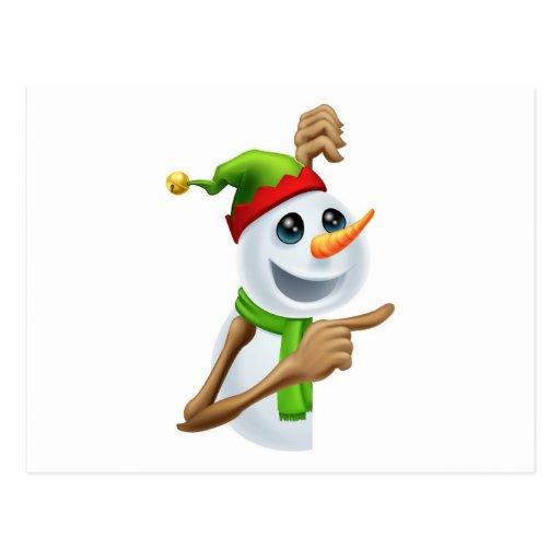 El señalar del muñeco de nieve del navidad tarjetas postales