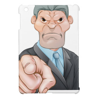 El señalar enojado del hombre de negocios