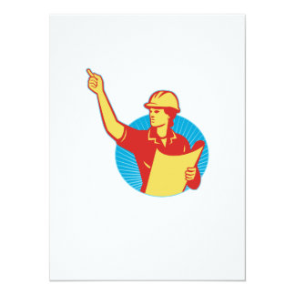 """El señalar femenino del trabajador de construcción invitación 5.5"""" x 7.5"""""""