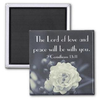 El señor de la biblia del amor y de la paz versifi imán cuadrado