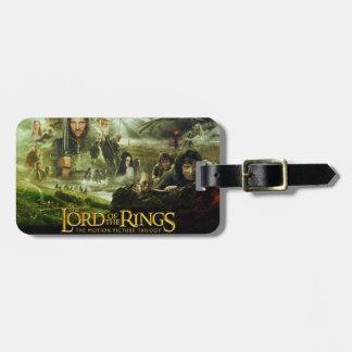 El señor del cartel de película de los anillos etiquetas para maletas