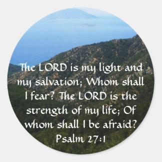 El SEÑOR es mi luz - 27:1 del salmo Pegatina Redonda