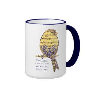 El señor es mi pájaro de la escritura de la fuerza taza
