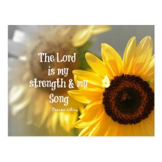 El señor es mi verso de la biblia de la fuerza y tarjeta postal
