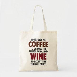 El señor, me da el café y el vino bolsa tela barata