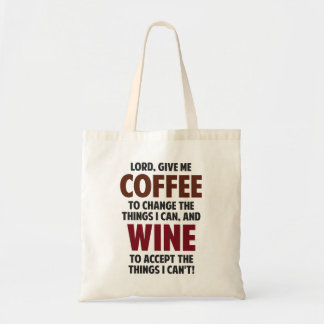 El señor, me da el café y el vino bolsa lienzo