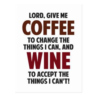 El señor, me da el café y el vino postales