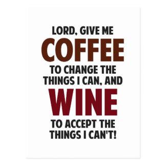 El señor, me da el café y el vino tarjetas postales