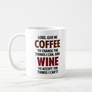 El señor, me da el café y el vino taza básica blanca