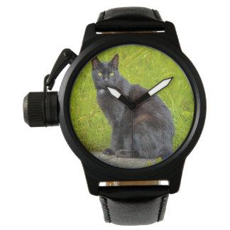 El sentarse del gato negro al aire libre relojes