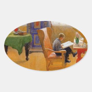 El sentarse en la butaca pegatina ovalada