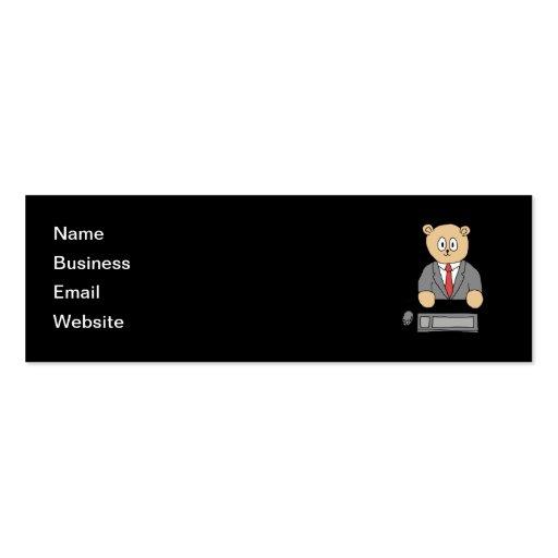 El sentarse en un escritorio - lazo rojo tarjetas de negocios