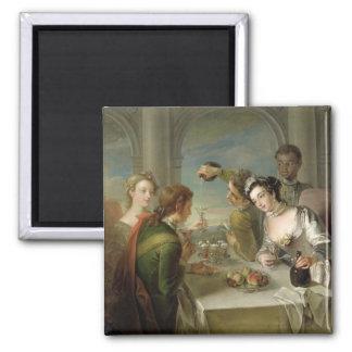 El sentido del gusto, c.1744-47 (aceite en lona) ( imán cuadrado