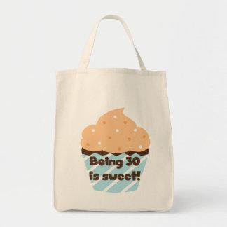 El ser 30 es camisetas y regalos dulces bolsa tela para la compra