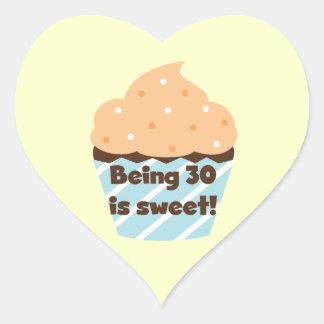El ser 30 es camisetas y regalos dulces calcomanía de corazón