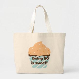 El ser 60 es camisetas y regalos dulces bolsa lienzo