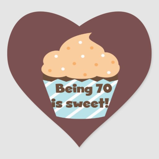 El ser 70 es camisetas y regalos dulces del pegatina en forma de corazón