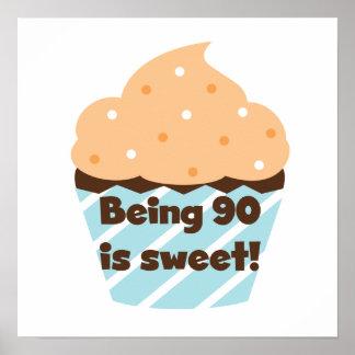 El ser 90 es camisetas y regalos dulces del cumple posters