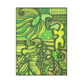 El ser arte abstracto verde envolvió la impresión impresiones en lona