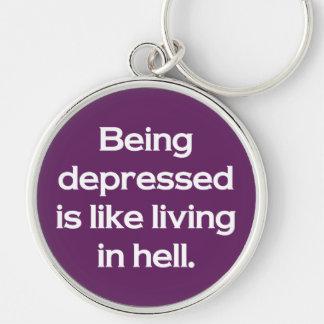 El ser deprimido es como la vida en infierno llavero redondo plateado