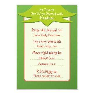 """El ser fácil invitaciones verdes del cumpleaños invitación 5"""" x 7"""""""