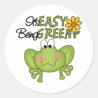 El ser fácil rana verde etiqueta redonda