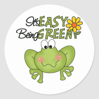 El ser fácil rana verde pegatina redonda