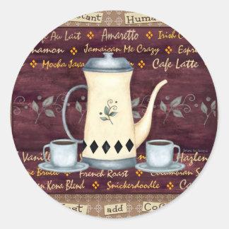¡El ser humano inmediato apenas añade el café! Pegatina Redonda