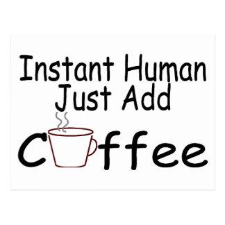 El ser humano inmediato apenas añade el café tarjetas postales