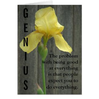 El ser un genio es trabajo duro tarjeta de felicitación