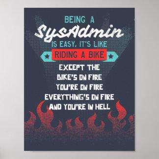 El ser un SysAdmin es como montar una bici Póster
