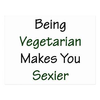 El ser vegetariano le hace más atractivo tarjeta postal