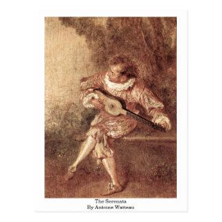 El Serenata de Antoine Watteau Tarjeta Postal