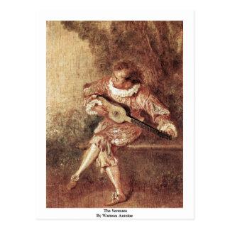 El Serenata de Watteau Antoine Tarjeta Postal