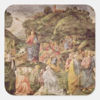 El sermón de la montaña, del Sistine Calcomanía Cuadrada