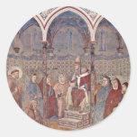 El sermón en el St Francis ante papa Honorius Etiqueta Redonda