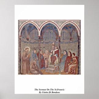 El sermón en el St Francis de Giotto Di Bondone Poster