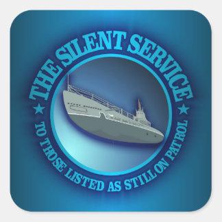 El servicio silencioso colcomanias cuadradas personalizadas