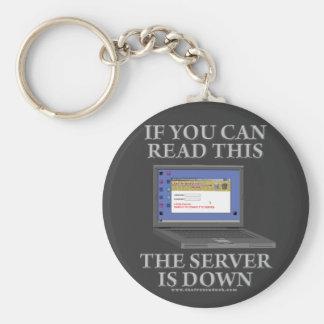 El servidor está abajo llavero redondo tipo pin