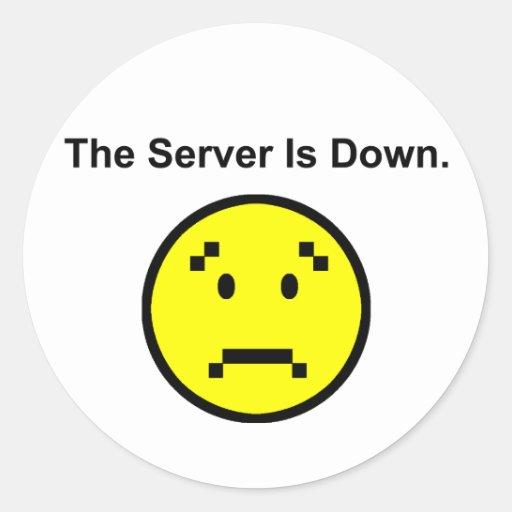 El servidor está abajo pegatina redonda