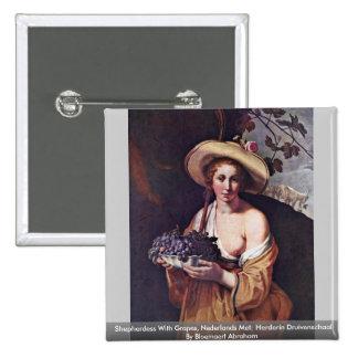 El Shepherdess con las uvas, Nederlands se Chapa Cuadrada 5 Cm