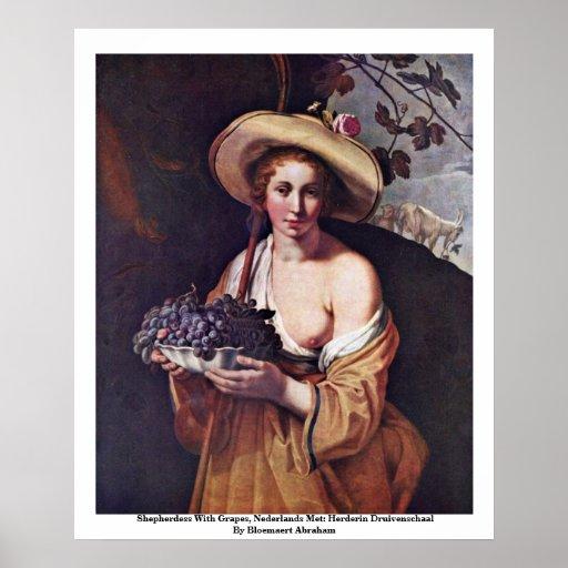 El Shepherdess con las uvas, Nederlands se Póster