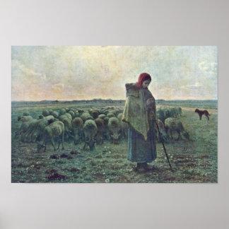 El Shepherdessdeutsch: Shepherdess por el mijo (se Póster