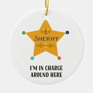 El sheriff adorno navideño redondo de cerámica